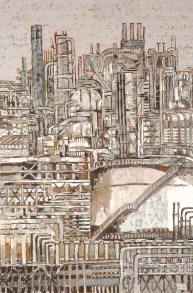 Industrial landscape, Pernis Rotterdam (2002) | oil painting – 120x80cm – #79427